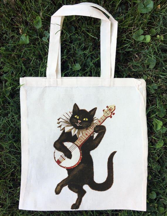 0c67206cdca Cat Tote Bag Vintage Cat Tote Bag Cat Tote Bags Cat Totes | Etsy