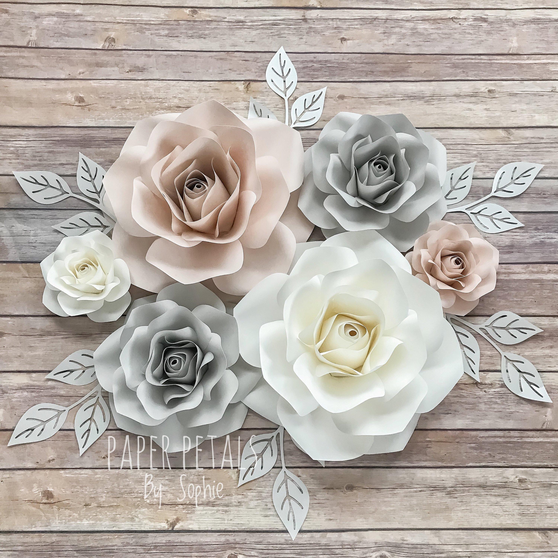 6 Piece Paper Rose Set Paper Flowers Nursery Wall Decor Baby Shower Floral Nursery Decor Bridal Shower Wall Flowers