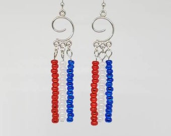 Red white and blue earrings. Patriotic 4th of July