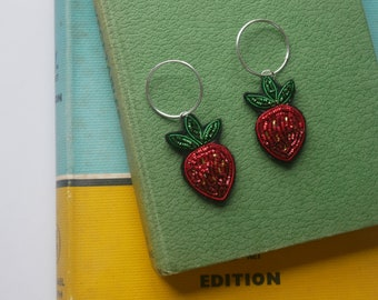 Hand Embroidered Strawberry Hoop Earrings