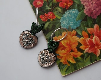 Hand Embroidered Peach Hoop Earring