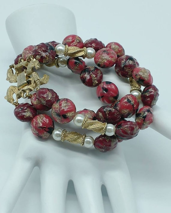 Vintage Kramer Triple Strand Red Gold and Pearl Si