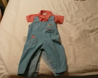 Vintage Tiny Tots overalls and matching shirt 9-12 months