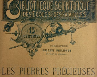 Antique 1880's Booklet on Precious Stones by Gaubert, Illustrations, France