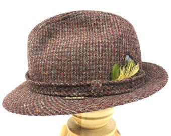 38e8da4d453 Vintage Brown Wool Tweed Fedora