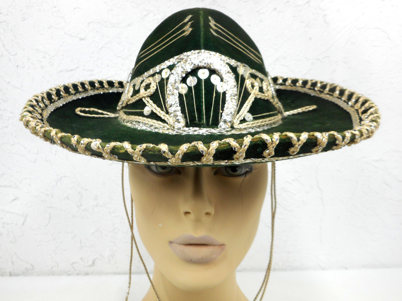 64d5c383a66c9 Vintage 13 Green Felt Sombrero Signed Charro Aritza Kid