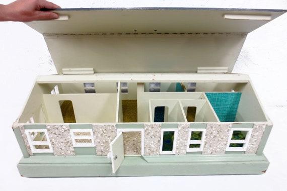 Vintage Handmade Dollhouse 32x17 All Wood 7 Rooms 12 Etsy