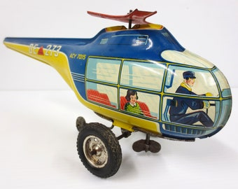 "Vintage Wind Up Tin Toy Helicopter 13"" Pilot, Passenger, Technofix Germany, Works"