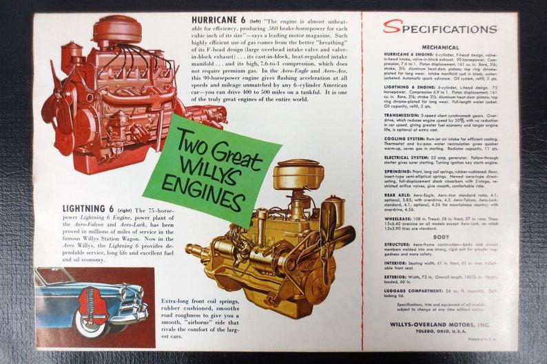 Original 1953 Aero Willys Overland Car Dealer Booklet Poster Advertising,  Ace, Falcon, Lark, Eagle