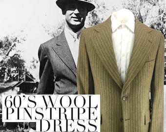 60s Mens Pinstripe Sport Coat 44-46