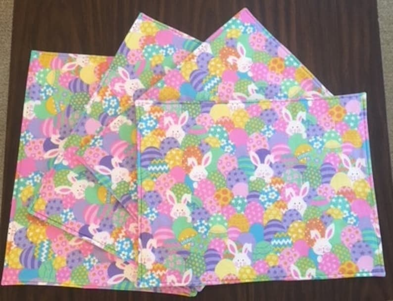 Set of 4 Easter Placemats Bunnies and Easter Eggs