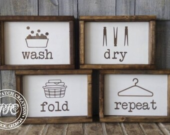 Wash Dry Fold Repeat Signs Laundry Room Farmhouse Decor Rustic
