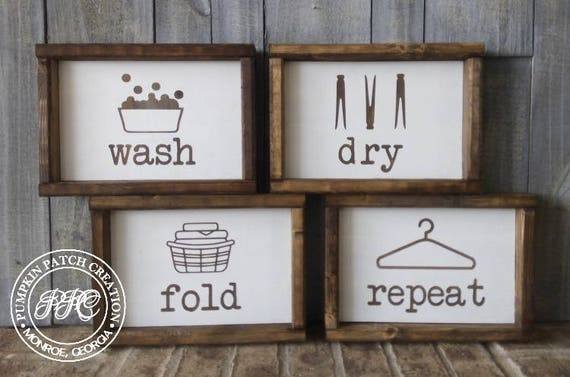 Wash Dry Fold Repeat Signs Laundry Room Signs Farmhouse Etsy