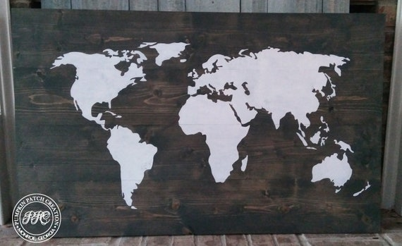World Map Wall Decor Rustic World Map Sign Farmhouse Map Etsy