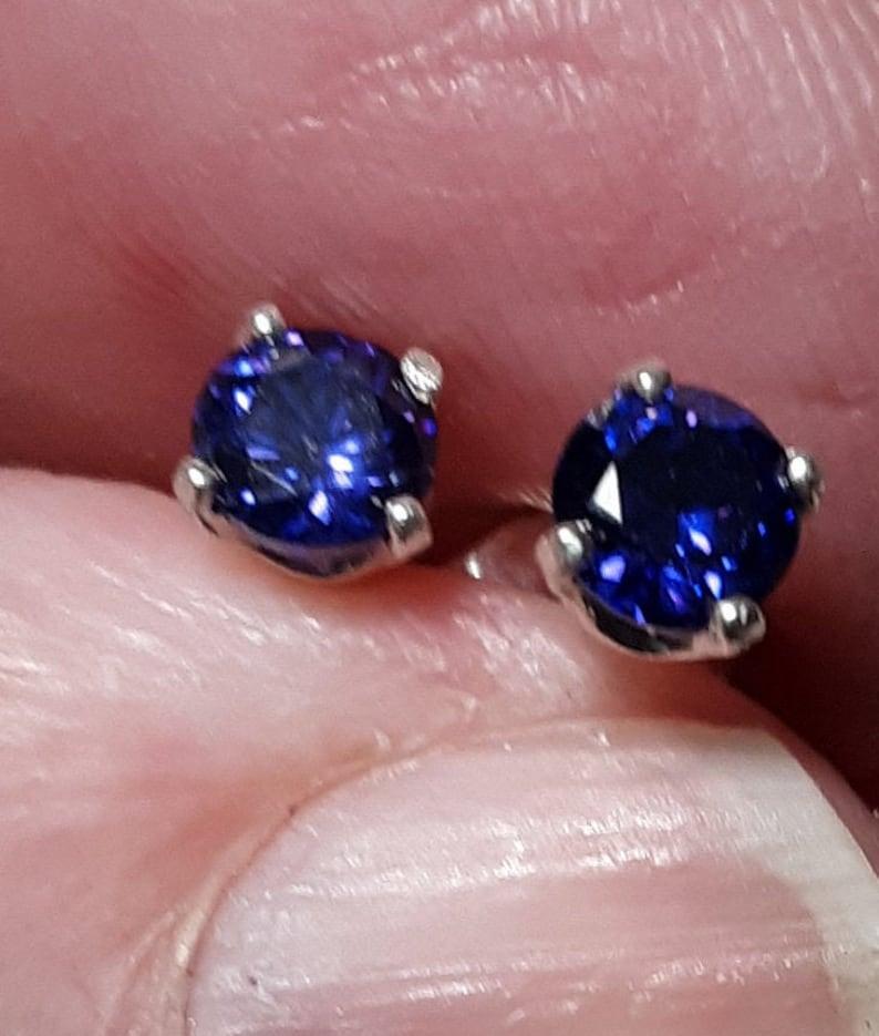 4MM Brilliant Purple Cubic Zirconia on sterling silver post findings Earrings