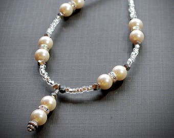 Pearl Glass Necklace, Bridal jewelry, Bridesmaid gift, Bridal necklace, Bridesmaid necklace, Bridesmaid jewelry, Pearl jewelry, Pearl