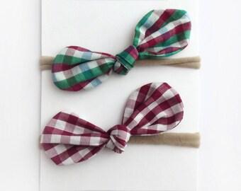 Baby Headband Bows, Baby Girl Headband Knotted Headband Nylon Headband Christmas Headbands Baby Headbands Plaid Bow