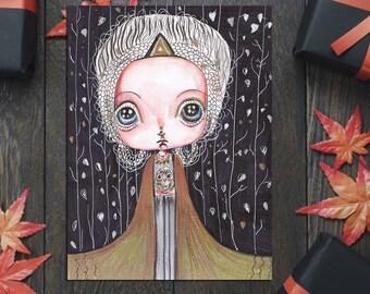 High Priestess Tarot Card creepy cute halloween art decoration