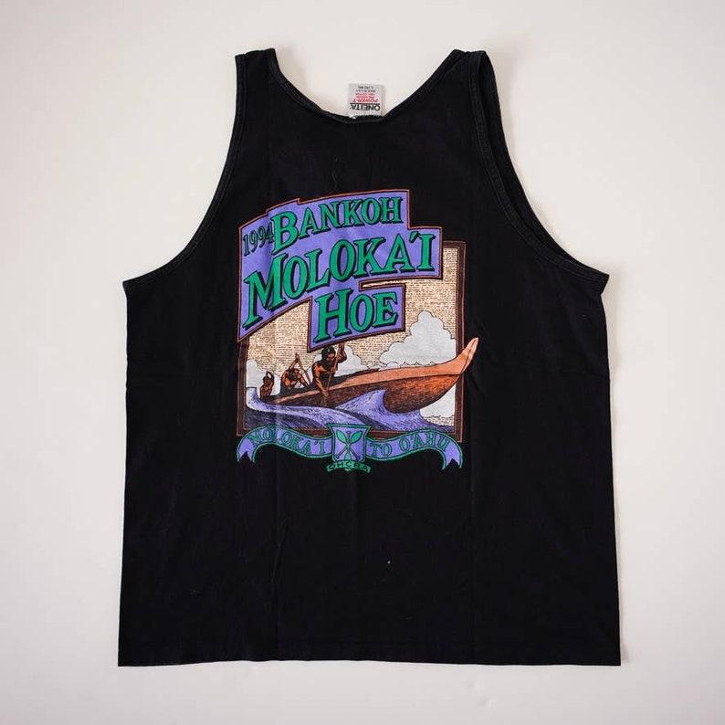 Vintage Single Stitch Bankoh Molokai Hoe Hawaii graphic Tank Top 1994