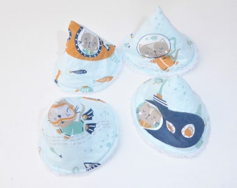 Set of 4 peepees, pee pares, pee cones, embe protection in cotton oeko tex and white sponge, cat pattern
