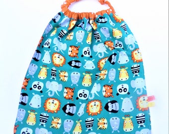 Towel to put on single, large bib, towel native animals.