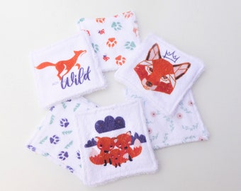 Set of 6 washable wipes, ecological, zero waste, baby wipes, 2 faces in bamboo blanket terry cloth.
