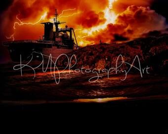 War Ship, digital image, instant download