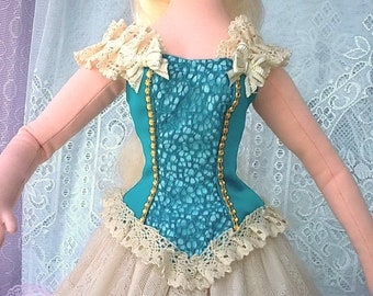 """Aquamarine corset - blouse with lace of Victorian, fantasy style for any 1/3 bjd & FR 24""""/60cm body and similar size dolls"""