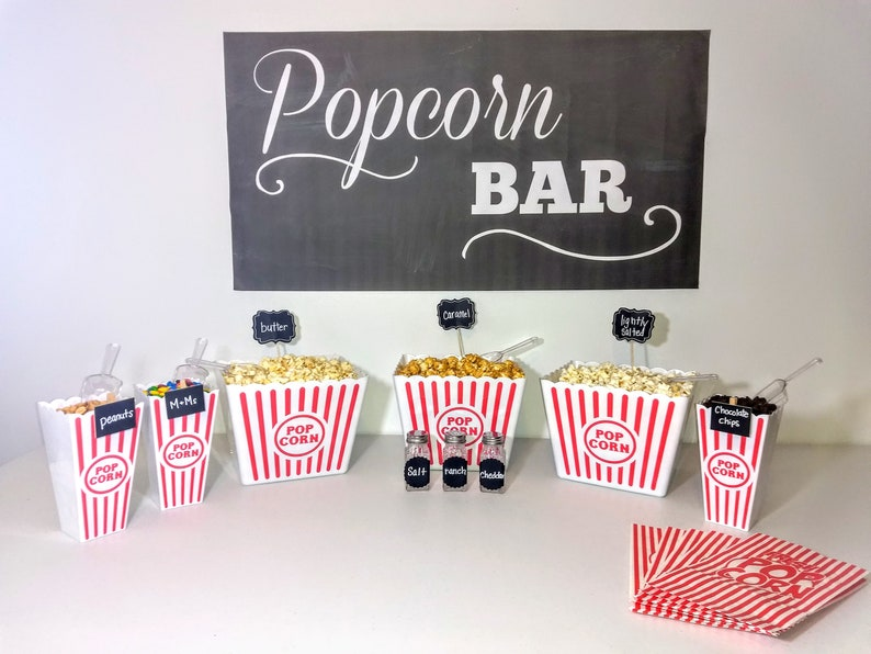 Popcorn Bar Party in a Box Classic Red Stripe