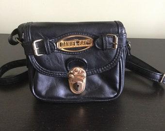 3409461e694c9 Vintage 90er Jahre schwarz Daniel Ray Vintage schwarze Handtasche Handtasche  Kunstleder Handtasche einfache alltägliche Messenger Tasche schwarz ...
