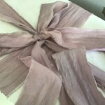 """Hand dyed with natural ingredients sand washed, torn, raw edged silk ribbon in a lovely mauve shade, measure approx 2"""" x 3 m unironed"""