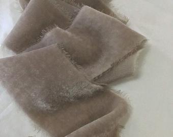 "Hand dyed raw feathered edged silk velvet ribbon approx 2""x3y 'Portobello'"