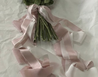 Limited hand dyed ready made bouquet ribbon wrap in three types of silks and 3 tonal shades for trailing ribbons