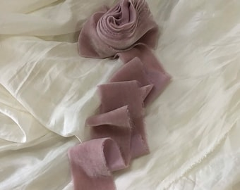 """Limited p naturally dyed raw feathered edged k velvet ribbon approx 2""""x3y in a mauve shade"""
