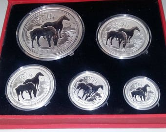 AUSTRALIA lunar year of the horse  2014 SET - 18,50 oz silver