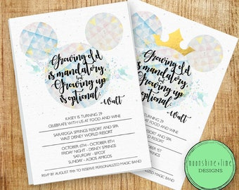 Disney World EPCOT Birthday Party Bachelor Bachelorette Invite Customized Digital Invitations Invitation To Watercolor