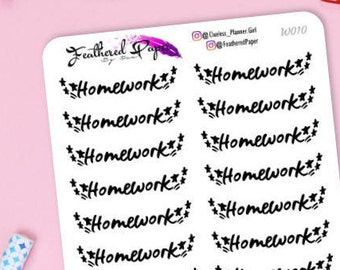 Homework Star - Black Word Script - 20 pcs | Decorative and Functional Stickers for any Planner - W010
