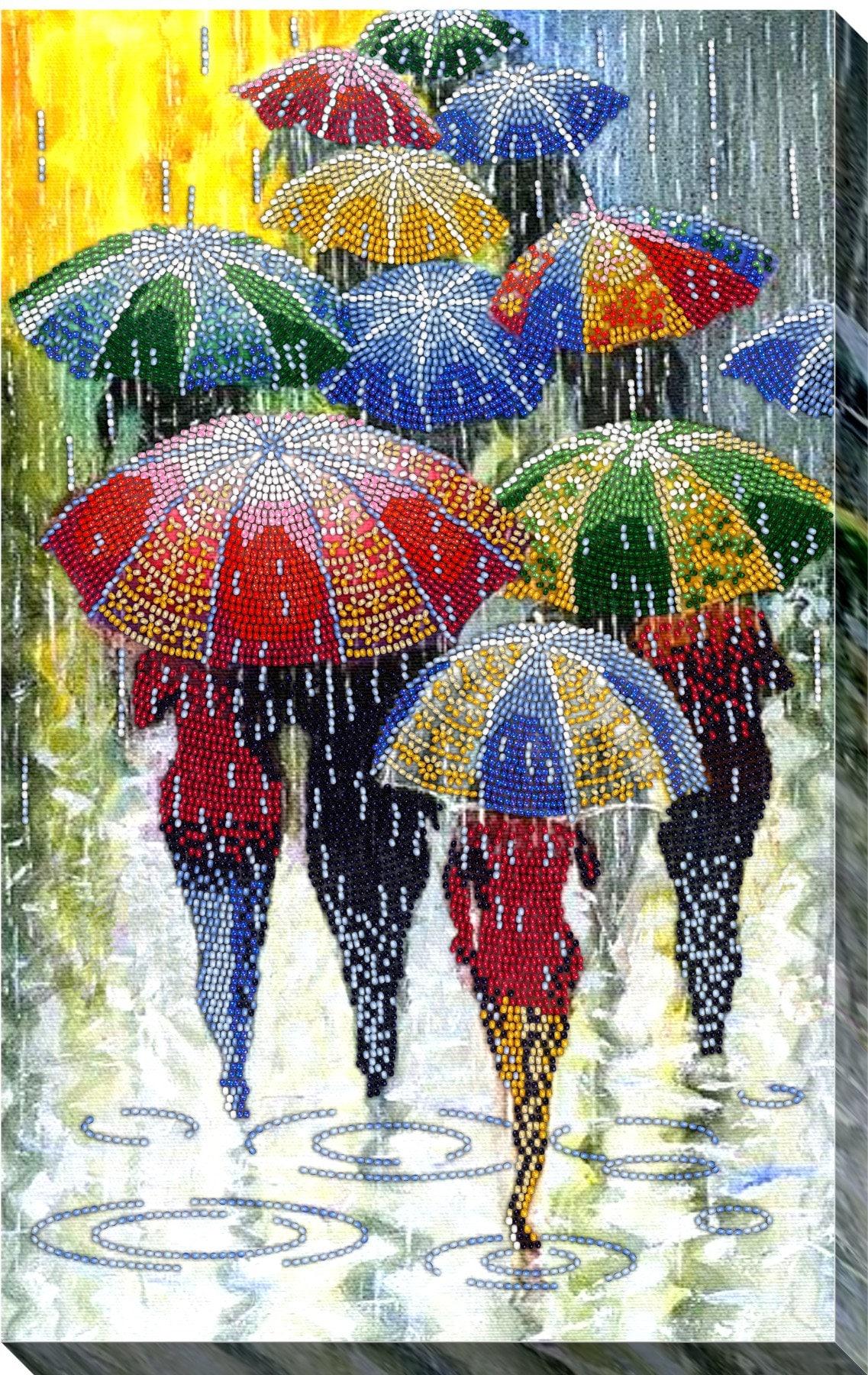 Parapluies, kit de broderie perlée DIY, motif de broderie, broderie, broderie, idée cadeau, perles de le œuvre d'art, livraison gratuite c39dc0