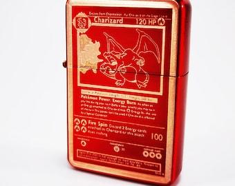Brand new - Designed Crushed Styled Cigarette Petrol Lighter - Trading Card - Base Set Charizard