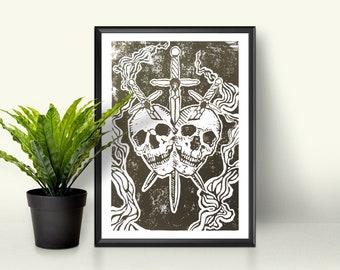 Skull Tarot Handmade Lino Cut Print