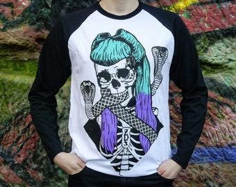 Cobra Pin Up Girl Longsleeve Baseball Shirt - Skeleton, Skull, Vintage, 50's, Goth, Alternative