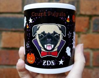 Trick or Treat Pet Pun Mug - Halloween, cute, spooky, vampire, mummy, witch, pug, dog, puppy, rabbit, hedgehog