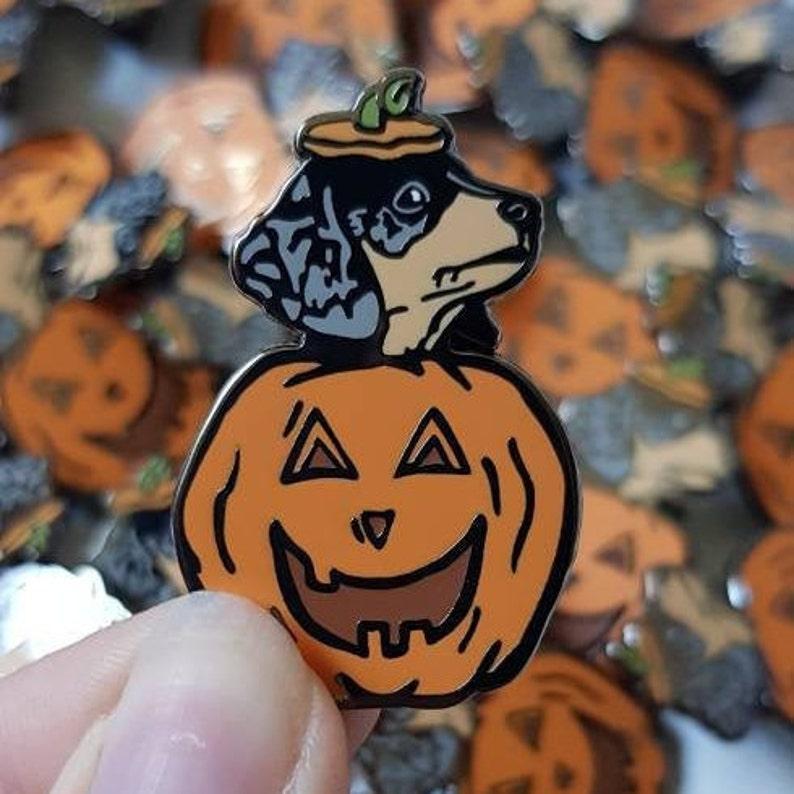 Pumpkin Puppy Enamel Pin  Halloween image 0