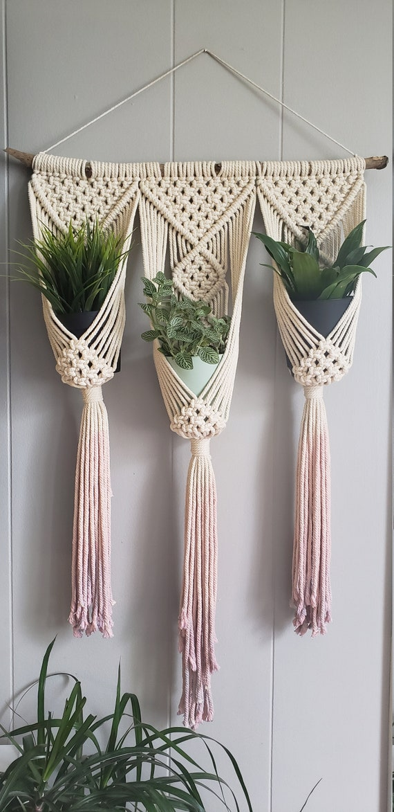 Macrame wall hanging triple plant holder / ombre macrame plant   Etsy