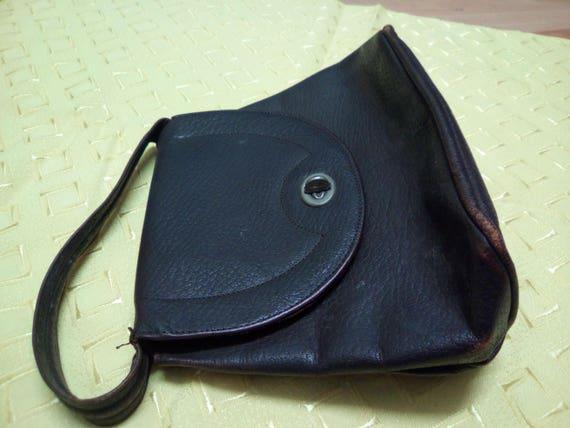 Vintage Handbag, 30s/40s Brown Leather, Soft body… - image 3