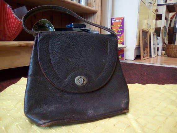 Vintage Handbag, 30s/40s Brown Leather, Soft body… - image 6