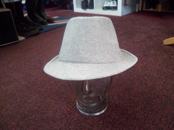 Men's Hat, 70s/80s Vintage Grey Woven Trilby Hat,