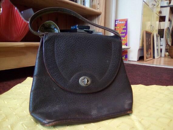 Vintage Handbag, 30s/40s Brown Leather, Soft body… - image 10