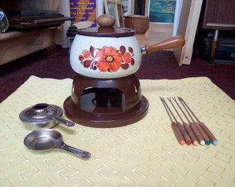 Vintage Fondue Set, Complete 70s Fondue Set, Everything you need to kick start your 70s party