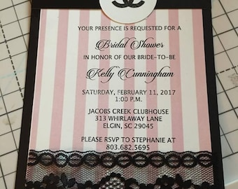Chanel bridal shower invitation etsy chanel inspired bridal shower filmwisefo